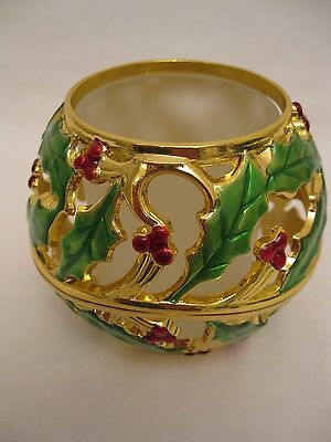 Lenox Holiday Gold Metal Holly green & red votive