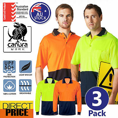 3x Hi Vis Polo Shirt Short Long Sleeve Cotton Backed Workwear Safety Contrast