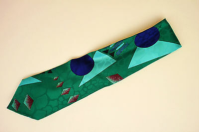 Vintage Abstract Art Silk Tie by Urban Attitude in Emerald Green Royal Blue