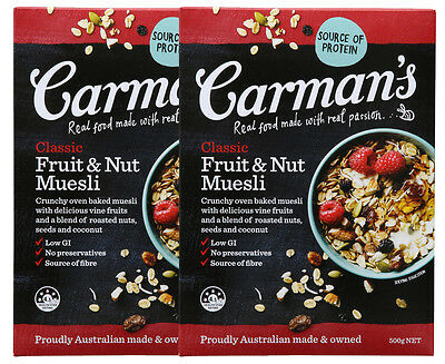 2 x Carman's Classic Fruit & Nut Muesli 500g