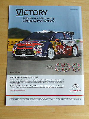 Citroen C4 Wrc Sebastien Loeb World Rally Champi Poster Advert Ready To Frame A4