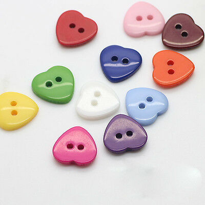 100pcs Kid Heart Mixed Colors Resin Buttons Fit Sewing Scrapbooking Craft 10mm