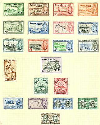 1948 - 50 Turks & Caicos values to 10/- on album leave. Very fresh