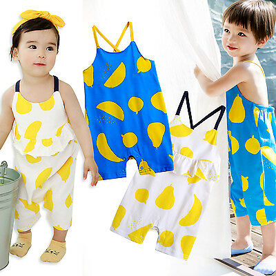 "Vaenait Baby Girls Boys Clothes Sleeveless Bodysuit Outfits ""Lemon Fruits"" 0-24M"