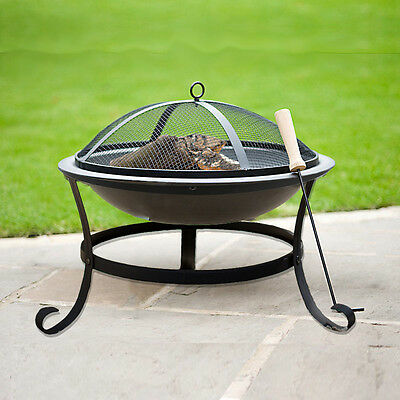 Noir Cast Iron Barrel Charcoal Camping Bbq Outdoor Adjustable Grill Fire Pit