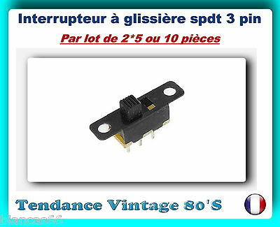 *** Lot De  2*5 Ou 10 Interrupteurs A Glissiere 3 Pin On/On Spdt ***