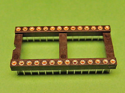 4x IC SOCKET 28 pin Turned Pin Gold Plated PCB DIL 0.6""