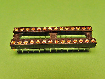 6x IC SOCKET 28 pin Turned Pin Gold Plated PCB DIL 0.3""