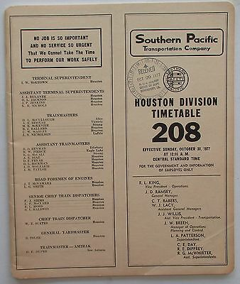 Southern Pacific Railroad 1977 Employee Timetable  -  Houston Division