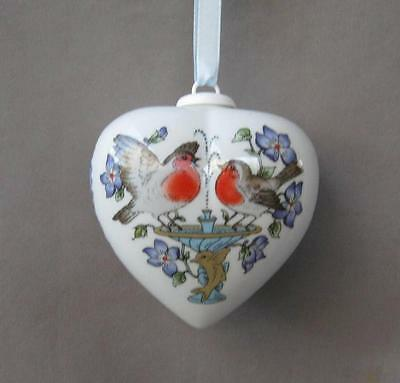 Hutschenreuther Germany Porcelain VALENTINE HEART Ornament Two Birds on Fountain