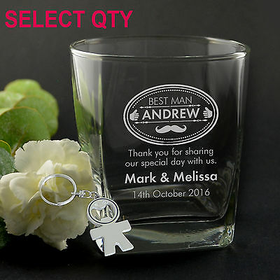 Personalised Favours Wedding Scotch or Whiskey Glasses - Best Man / Groomsmen