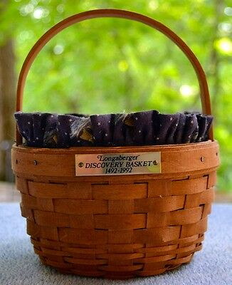 Longaberger 1992 Discovery Handled Basket with Ships Cloth Liner