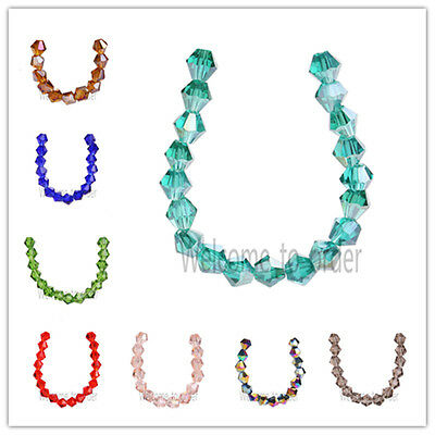 Wholesale Faceted Crystal Glass Bicone Loose Spacer Beads Jewelry Findings 6mm