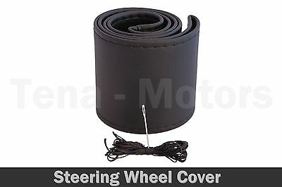 QUALITY Black Leather Car Steering Wheel Protection Cover 37cm - 38cm Size M