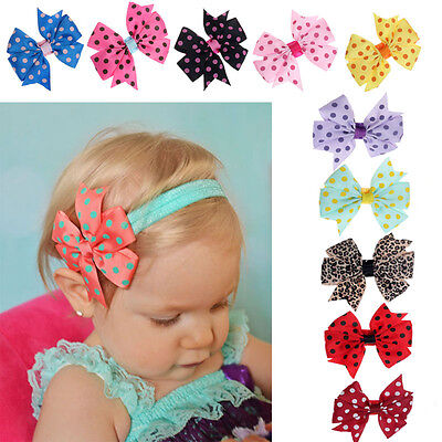 10PCS Newborn Baby Girl Toddler Infant Flower Headband Hair Bow Band Photo Props