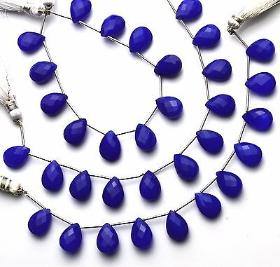 "Natural Gemstone Blue Chalcedony Faceted Pear Shape Briolette Beads 6"" GEMEDH"