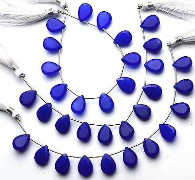"Natural Gemstone Blue Chalcedony Faceted Pear Shape Briolette Beads 6"" Strand"