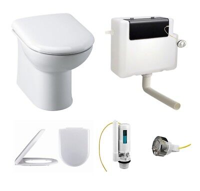 Linton Back to Wall BTW Toilet WC Pan, Soft Close Seat  and Concealed Cistern