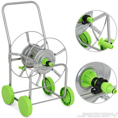 80m-120m Garden Hose Pipe Reel Holder Trolley Cart Water Portable Free Standing