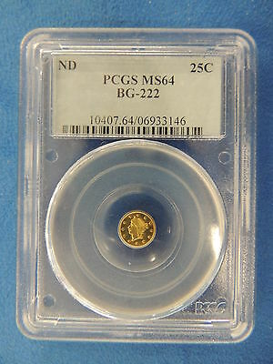No Date 25C BG-222 California Fractional Gold PCGS MS64