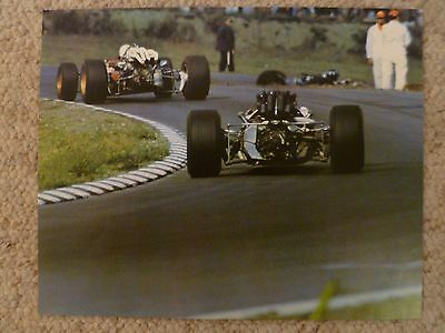 1967 John Surtees (Honda) pursuing Chris Amon (Ferrari) at US GP Poster RARE