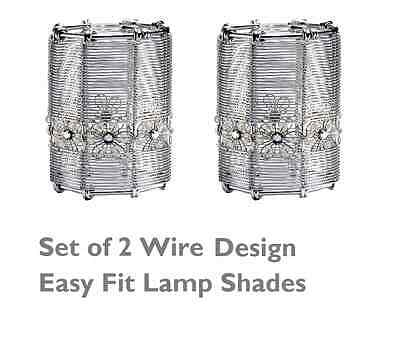 Set of 2 Modern Metal Wire Design Ceiling Light Lamp Shades Easy Fit