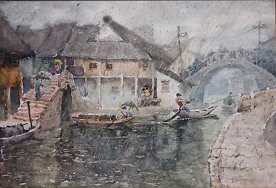 Original Vintage Signed Quality Japanese Impressionist Watercolor-Rainy Harbor