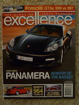 "2009 Porsche Excellence Magazine October 2009 ""1st Drive Panamera"" RARE! Awesome"