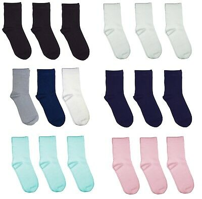 Kids School Solid Color Bamboo (Rayon) Seamless Socks 3 PACK by Rambutan