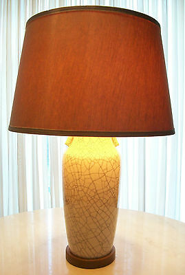 Mid Century Crackle Glaze Lamp - Original Fittings & Shade - Japan - Circa 1940
