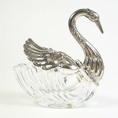 Vintage Silver Plate & Glass Swan Form Open Salt Cellar - Mid 20th Century