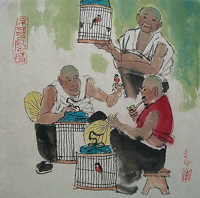 Vintage Watercolor Painting on Paper - Signed - Unframed - China - 20th Century