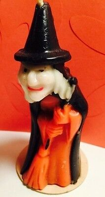 Vintage GURLEY HALLOWEEN CANDLE Large Witch w/ Broom w/ Label * Spooky Retro Fun