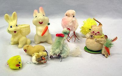 10 Vintage Easter Bunnies Rabbits & Chicks Spring Wax Paper Fuzzy Decors
