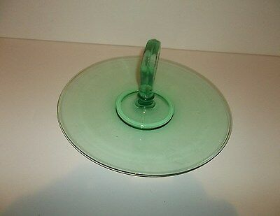 Depression Serving Tray Green Glass Center Handle T46 See Photos