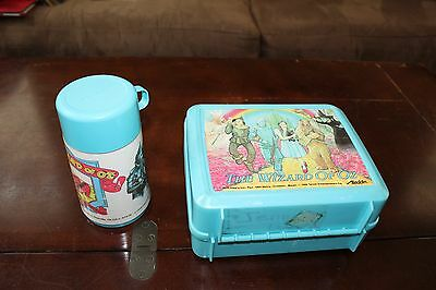 1989 Aladdin The Wizard Of Oz Plastic Lunch Box With 3 Thermos