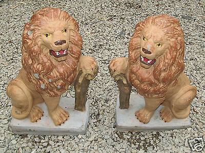 Pair of Antique Cement Concrete Lions w/Shield Yard Garden Statues Painted