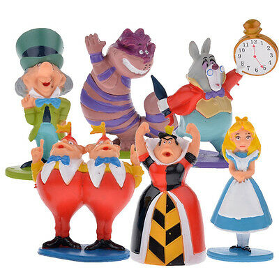 6pcs a set Alice on Stand PVC Action Figure  Alice In Wonderland Cake Topper