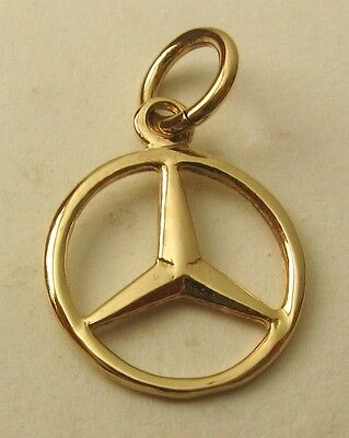 SOLID 9ct YELLOW GOLD SMALL 3D MERCEDES BENZ SIGN LOGO CAR Charm/Pendant