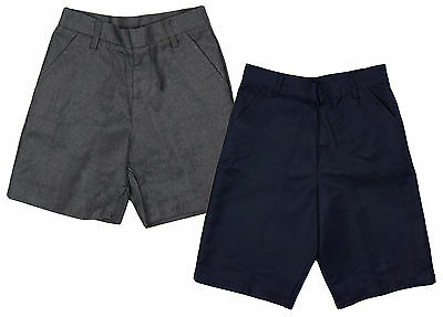 Boys Chainstore Plain School Uniform Shorts Grey or Navy 3 to 11 Years NEW
