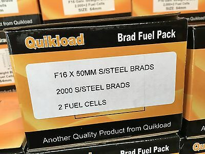 QUIKLOAD F16-50mm STAINLESS STEEL BRAD PACK FOR PASLODE STRAIGHT 2ND FIX TOOLS