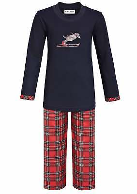 Long Children's Pyjama, Colour: dark navy/red chequered, Sizes 92 - 176