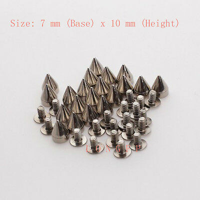 Metal Cone Screwback Spike Stud Goth Punk Bag Leather Craft DIY Decor 7x10mm