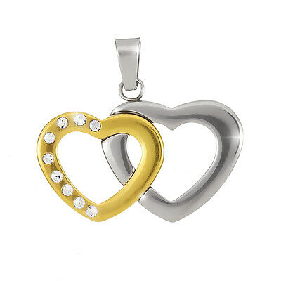 Stainless Steel Double Heart Pendant Gold & Silver 30mm - Pack of 1 (H89/11)