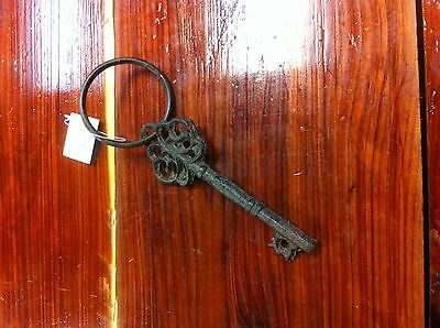 Cast Iron Reproduction Skeleton Key with scroll top design