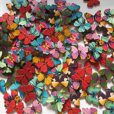 27Mm Wooden Mixed Butterfly 2-Hole Buttons Craft Sewing Scrapbook - Var Qty
