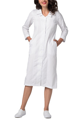 Adar Doctor Nurse White Medical Coat Double Embroidered Collar Cotton Lab Dress