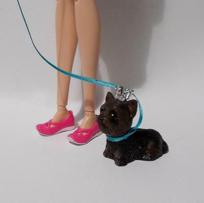 Barbie Mini Dog Brown Terrier With Silver Crown Blue Leash Mattel 1:6 Scale