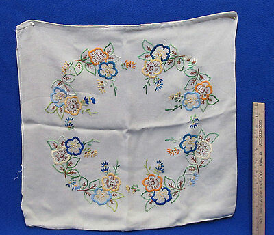Vintage Linen Pillow Covering Tan w/ Embroidered Floral Design Blues Gold Square