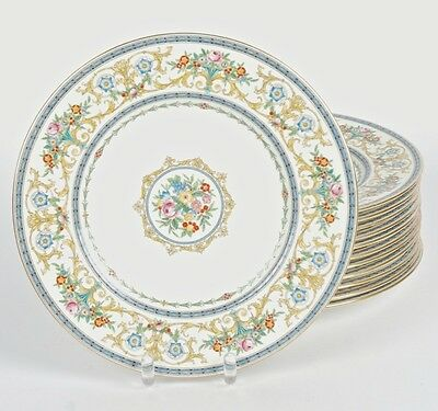 EARLY 1900's SET OF 12 MINTON'S DINNER PLATES PATTERN H4089 WITH RAISED GLAZE